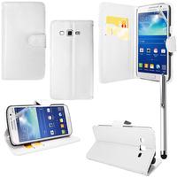 Samsung Galaxy Core Plus G3500/ Trend 3 G3502: Accessoire Etui portefeuille Livre Housse Coque Pochette support vidéo cuir PU + Stylet - BLANC