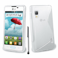 LG Optimus L5 II E460 (non compatible LG L5 II E455 Dual Sim): Accessoire Housse Etui Pochette Coque S silicone gel + Stylet - TRANSPARENT