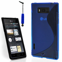 LG Optimus L7 P700/ P705: Accessoire Housse Etui Pochette Coque S silicone gel + mini Stylet - BLEU