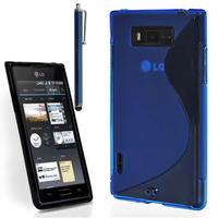 LG Optimus L7 P700/ P705: Accessoire Housse Etui Pochette Coque S silicone gel + Stylet - BLEU