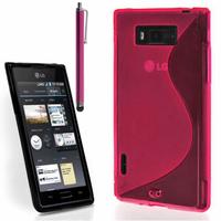 LG Optimus L7 P700/ P705: Accessoire Housse Etui Pochette Coque S silicone gel + Stylet - ROSE