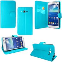 Samsung Galaxy Core Plus G3500/ Trend 3 G3502: Accessoire Etui portefeuille Livre Housse Coque Pochette support vidéo cuir PU - BLEU