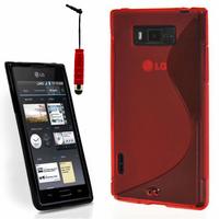 LG Optimus L7 P700/ P705: Accessoire Housse Etui Pochette Coque S silicone gel + mini Stylet - ROUGE