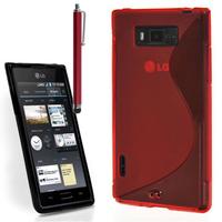 LG Optimus L7 P700/ P705: Accessoire Housse Etui Pochette Coque S silicone gel + Stylet - ROUGE