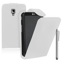 LG Optimus L7 II P710/ L7X P714: Accessoire Etui Housse Coque Pochette simili cuir + Stylet - BLANC
