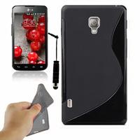 LG Optimus L7 II P710/ L7X P714: Accessoire Housse Etui Pochette Coque S silicone gel + mini Stylet - NOIR