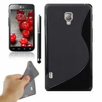 LG Optimus L7 II P710/ L7X P714: Accessoire Housse Etui Pochette Coque S silicone gel + Stylet - NOIR