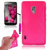 LG Optimus L7 II P710/ L7X P714: Accessoire Housse Etui Pochette Coque S silicone gel + mini Stylet - ROSE