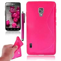 LG Optimus L7 II P710/ L7X P714: Accessoire Housse Etui Pochette Coque S silicone gel + Stylet - ROSE