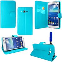 Samsung Galaxy Core Plus G3500/ Trend 3 G3502: Accessoire Etui portefeuille Livre Housse Coque Pochette support vidéo cuir PU + mini Stylet - BLEU