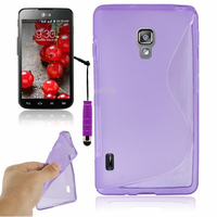 LG Optimus L7 II P710/ L7X P714: Accessoire Housse Etui Pochette Coque S silicone gel + mini Stylet - VIOLET