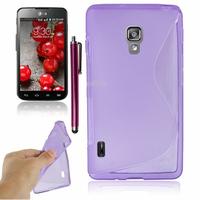 LG Optimus L7 II P710/ L7X P714: Accessoire Housse Etui Pochette Coque S silicone gel + Stylet - VIOLET
