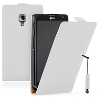 LG Optimus L7 II P710/ L7X P714: Accessoire Housse coque etui cuir fine slim + mini Stylet - BLANC