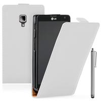 LG Optimus L7 II P710/ L7X P714: Accessoire Housse coque etui cuir fine slim + Stylet - BLANC