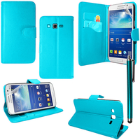 Samsung Galaxy Core Plus G3500/ Trend 3 G3502: Accessoire Etui portefeuille Livre Housse Coque Pochette support vidéo cuir PU + Stylet - BLEU