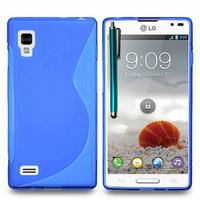 LG Optimus L9 P760/ P765/ P768: Accessoire Housse Etui Pochette Coque S silicone gel + Stylet - BLEU