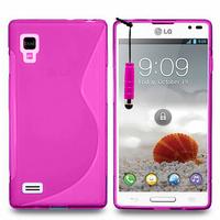 LG Optimus L9 P760/ P765/ P768: Accessoire Housse Etui Pochette Coque S silicone gel + mini Stylet - ROSE
