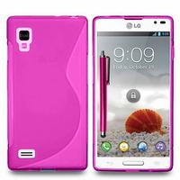 LG Optimus L9 P760/ P765/ P768: Accessoire Housse Etui Pochette Coque S silicone gel + Stylet - ROSE