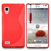 LG Optimus L9 P760/ P765/ P768: Accessoire Housse Etui Pochette Coque S silicone gel + mini Stylet - ROUGE