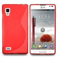 LG Optimus L9 P760/ P765/ P768: Accessoire Housse Etui Pochette Coque S silicone gel + Stylet - ROUGE