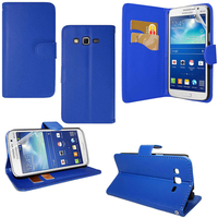 Samsung Galaxy Core Plus G3500/ Trend 3 G3502: Accessoire Etui portefeuille Livre Housse Coque Pochette support vidéo cuir PU - BLEU FONCE