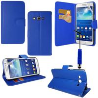 Samsung Galaxy Core Plus G3500/ Trend 3 G3502: Accessoire Etui portefeuille Livre Housse Coque Pochette support vidéo cuir PU + mini Stylet - BLEU FONCE