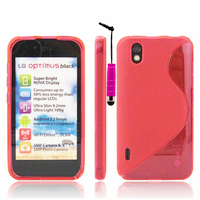 LG Optimus Black P970/ SCHWARZ: Accessoire Housse Etui Pochette Coque S silicone gel + mini Stylet - ROSE