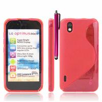 LG Optimus Black P970/ SCHWARZ: Accessoire Housse Etui Pochette Coque S silicone gel + Stylet - ROSE