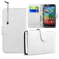 Motorola Razr i XT890: Accessoire Etui portefeuille Livre Housse Coque Pochette cuir PU + mini Stylet - BLANC