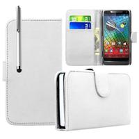 Motorola Razr i XT890: Accessoire Etui portefeuille Livre Housse Coque Pochette cuir PU + Stylet - BLANC
