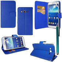 Samsung Galaxy Core Plus G3500/ Trend 3 G3502: Accessoire Etui portefeuille Livre Housse Coque Pochette support vidéo cuir PU + Stylet - BLEU FONCE