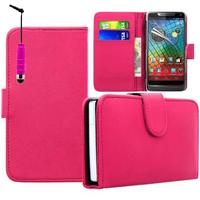 Motorola Razr i XT890: Accessoire Etui portefeuille Livre Housse Coque Pochette cuir PU + mini Stylet - ROSE