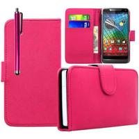 Motorola Razr i XT890: Accessoire Etui portefeuille Livre Housse Coque Pochette cuir PU + Stylet - ROSE