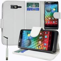 Motorola Razr i XT890: Accessoire Etui portefeuille Livre Housse Coque Pochette support vidéo cuir PU + mini Stylet - BLANC