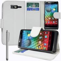 Motorola Razr i XT890: Accessoire Etui portefeuille Livre Housse Coque Pochette support vidéo cuir PU + Stylet - BLANC