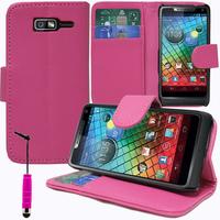 Motorola Razr i XT890: Accessoire Etui portefeuille Livre Housse Coque Pochette support vidéo cuir PU + mini Stylet - ROSE