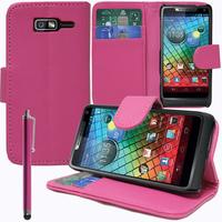Motorola Razr i XT890: Accessoire Etui portefeuille Livre Housse Coque Pochette support vidéo cuir PU + Stylet - ROSE