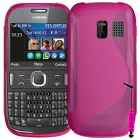 Nokia Asha 302: Accessoire Housse Etui Pochette Coque S silicone gel + mini Stylet - ROSE