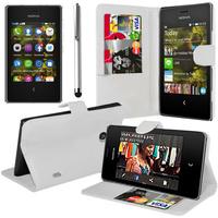 Nokia Asha 503: Accessoire Etui portefeuille Livre Housse Coque Pochette support vidéo cuir PU + Stylet - BLANC