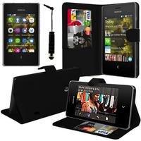 Nokia Asha 503: Accessoire Etui portefeuille Livre Housse Coque Pochette support vidéo cuir PU + mini Stylet - NOIR