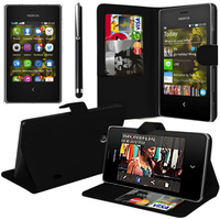 Nokia Asha 503: Accessoire Etui portefeuille Livre Housse Coque Pochette support vidéo cuir PU + Stylet - NOIR