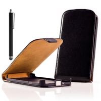 Nokia Asha 503: Accessoire Housse coque etui cuir fine slim + Stylet - NOIR