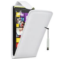 Nokia Lumia 1020: Accessoire Etui Housse Coque Pochette simili cuir + mini Stylet - BLANC