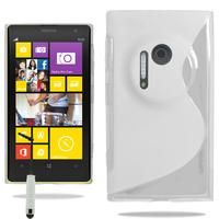 Nokia Lumia 1020: Accessoire Housse Etui Pochette Coque S silicone gel + mini Stylet - BLANC