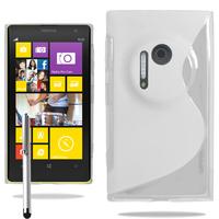 Nokia Lumia 1020: Accessoire Housse Etui Pochette Coque S silicone gel + Stylet - BLANC