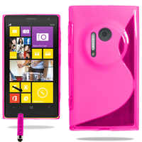 Nokia Lumia 1020: Accessoire Housse Etui Pochette Coque S silicone gel + mini Stylet - ROSE