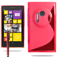 Nokia Lumia 1020: Accessoire Housse Etui Pochette Coque S silicone gel + Stylet - ROUGE