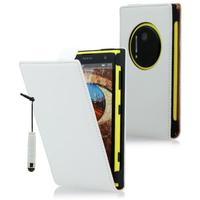 Nokia Lumia 1020: Accessoire Housse coque etui cuir fine slim + mini Stylet - BLANC