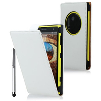 Nokia Lumia 1020: Accessoire Housse coque etui cuir fine slim + Stylet - BLANC