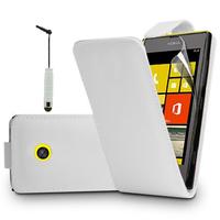 Nokia Lumia 520/ 525: Accessoire Etui Housse Coque Pochette simili cuir + mini Stylet - BLANC